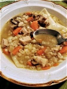 homemade chicken mushroom barley soup